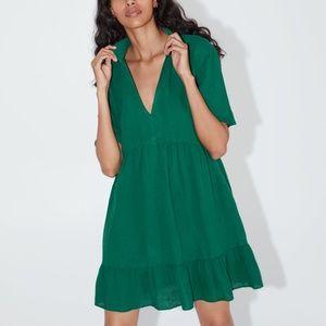 ZARA Seamed Mini Dress Green Size Medium